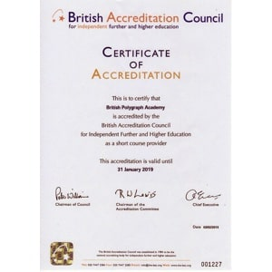 British Accreditation Council Certificate