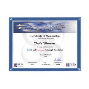 British European Polygraph Association Membership Certificate
