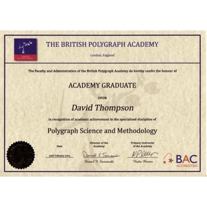 British Polygraph Academy Graduate Certificate