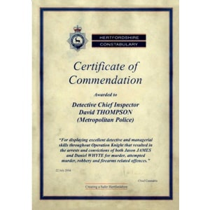 Hertfordshire Constabulary Commendation Certificate