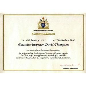 Metropolitan Police Commendation Certificate